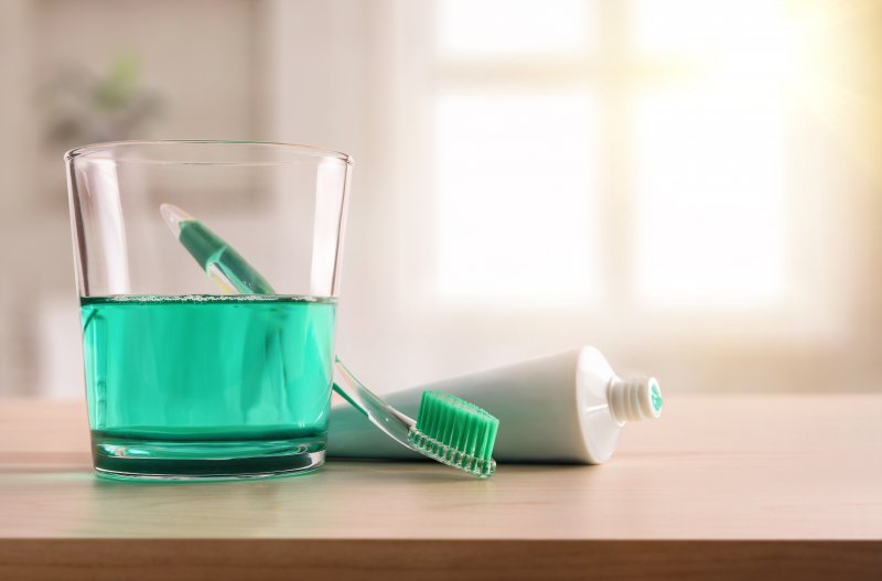 Dental hygiene tools on countertop